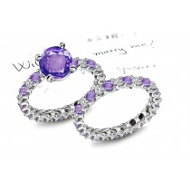 Glittering:Purple Sapphire & White Diamond Micro Pave Ring