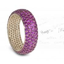 This Stunning pave Set Purple Sapphire Eternity Ring
