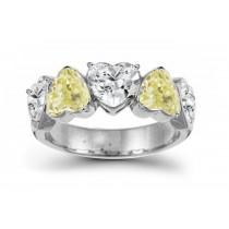 Designer Five StoneYellowDiamond Heart Ring