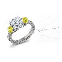 Yellow Colored Diamonds & White Diamonds Fancy Yellow Diamond Engagement Rings