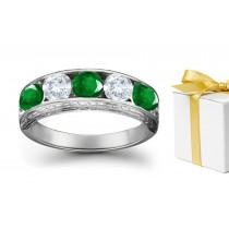 ExtraordinaryCollection: Platinum & Diamond Emerald Five Stone Ring