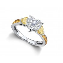 Heart Diamond & Yellow Sapphire Three Stone Engagement Ring With Side Accents