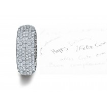 Micropavee Diamonds 6 Stone Row Wedding Ring in Platinum & Gold