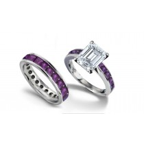 Emerald Cut Diamond & Square Purple Sapphire Ring & Matching Wedding Band