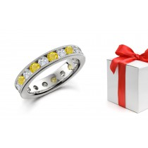 Glowing: Glittering Yellow Sapphire & Diamond Eternity Wedding Rings