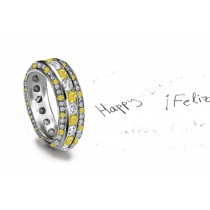 Glittering: Yellow Sapphire & Diamond Eternity Rings