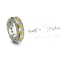 Sparkling: Yellow Sapphire & Diamond Eternity Rings