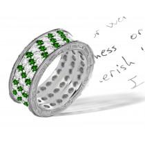 Gold Micropavee 6 mm Emerald Diamond Ring