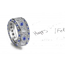 Unrepeatable: Micropavee Encrusted Blue Sapphire & Diamond & Diamond Halos Eternity Band All Around