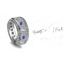 Unrepeatable: MicropavéEncrusted Blue Sapphire & Diamond & Diamond Halos Eternity Band All Around
