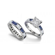 Princess Cut Diamond and Baguette Sapphire Bridal Set