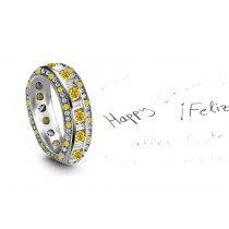 Fascination: Yellow Sapphire & Diamond Eternity Rings