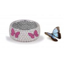 Butterfly Collection: Women's Halo Micro pave Precision Set Fiery Red Rubies & Diamond Eternity Rings Available in Gold or Platinum for Wedding or Anniversary