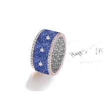 Made to Order French pave Set Brilliant Cut Round Diamonds & Blue Sapphires Eternity Rings & Bands