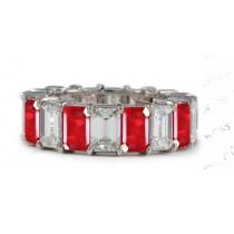 View Emerald Cut Ruby & Emerald Cut Diamond Eternity Wedding Ring