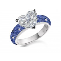 Made to Order Just For You Delicate Micro Pave Blue Sapphires Diamonds & Heart Diamond Ring