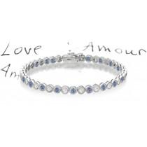 Alternating Blue Colored Diamonds & White Diamonds Fancy Blue Diamond Bracelet and Necklace