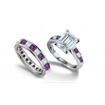 Emerald Cut Diamond & Square Purple Sapphire Ring and Matching Wedding Band
