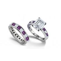 Emerald Cut Diamond & Square PurpleSapphire Ring and Matching Wedding Band