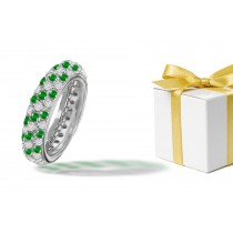 Platinum, Emerald, Diamond Micropavee Ring