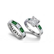 Princess Cut Diamond & Baguette EmeraldBridal Set