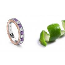 A Different Burnish Set Heart Diamond & Purple Sapphire Rings