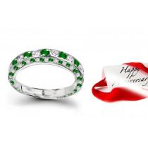 Striking Diamond & Emerald Halo Eternity Ring