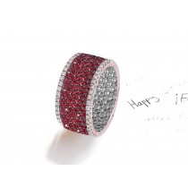 Made to Order French pave Set Brilliant Cut Round Diamonds & Pink SapphireRed Rubies Eternity Rings & Bands