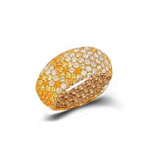 Eternity Ring with Diamonds & Yellow Sapphires in Gold or Platinum
