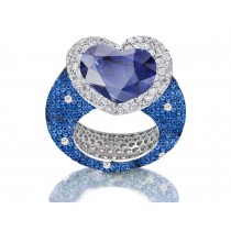 Delicate Micro Pave Round Brilliant Cut & Heart Blue Sapphires & Diamonds Halo Ring