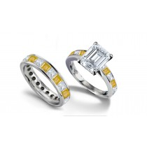 Emerald Cut Diamond & Square Yellow Sapphire Ring & Matching Wedding Band