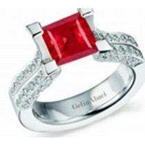 Designer Princess Cut Ruby Gemstone Diamond Tension Set Engagement Rings