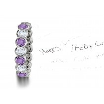 Glowing:Remarkable PurpleSapphire & Diamond Eternity Ring