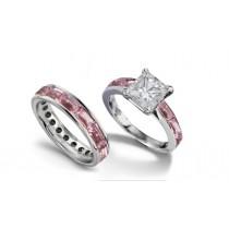 Princess Cut Diamond & Baguette Sapphire Bridal Set