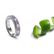 Platinum Intricate Hand Engraved Sapphire Diamond Rings