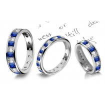 Special Effects: Channel Set Emerald Cut Diamond & Sapphire Eternity Band