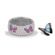 Butterfly Collection: Women's Halo Micro pave Precision Set Pink Sapphire & Diamond Eternity Rings Available in Gold or Platinum for Wedding or Anniversary