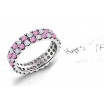 2 Row Pink Sapphire & Diamond Eternity Rings