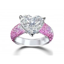 Heart Diamond & Pink Sapphire Micropave Set Engagement and Right Hand Rings