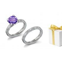 Statement:Purple Sapphire & White Diamond EngravedRing