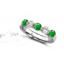 Rich Experience: Men 5 Stone Bar Set Round Emerald & Diamond Ring
