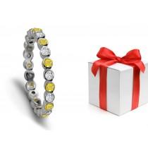 Magical Yellow Sapphire & Diamond Designer Wedding Rings
