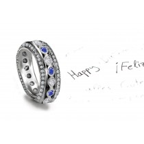 Truly Amazing: Sparkling Sapphire Diamond Oval Bubble Band Bordered with Twinkling Diamonds