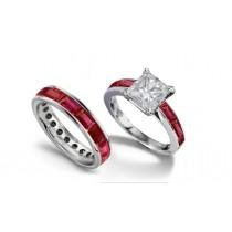Princess Cut Diamond & BaguetteRuby Bridal Set