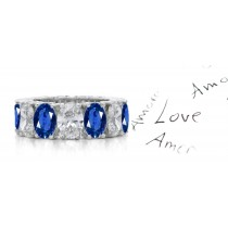 Oval Diamond & Oval Blue Sapphire Eternity Ring in Platinum Size 3 to 8