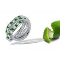 Triple Diamond & Emerald Eternity Rolling Rings