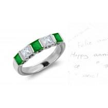 Rich Deep Green: Men 5 Stone Princess Cut Diamond & Square Emerald Ring