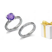 Timeless:Purple Sapphire & White Diamond EngravedRing