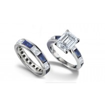 Emerald Cut Diamond & Baguette Sapphire Ring and Matching Wedding Band