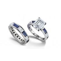 Emerald Cut Diamond & BaguetteSapphire Ring and Matching Wedding Band